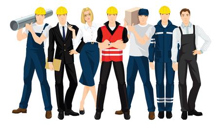白い背景で隔離のチームを造るのベクター イラストです。プロと安全制服の人々。