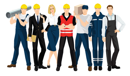 Vector illustration of building team isolated on white background. People in professional and safety uniform. Ilustrace
