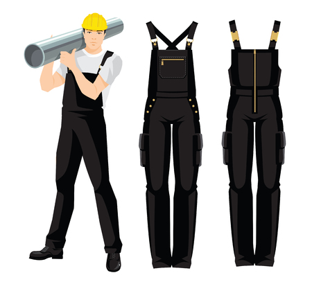 Vector illustration of workers uniform on white background. Worker in overalls and protective helmet.