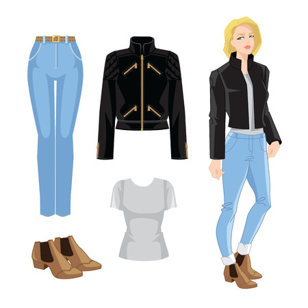 Vector illustration of blue jeans, bomber jacket and ankle boots with elastic ribbon. Young blonde girl with bob haircut on white background. Illustration