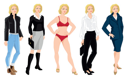 wearing: Vector illustration of woman in different clothes and pose isolated on white background.