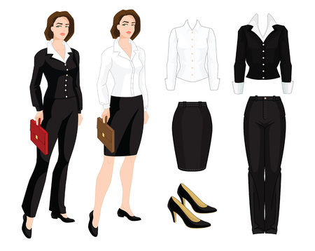 Vector illustration of corporate dress code. Business girl, teacher and secretary in formal clothes. Base wardrobe.