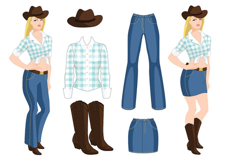 A Vector illustration of blond cowgirl. Blue jeans, denim skirt, hat and boots on white background. Country style of clothes on white background