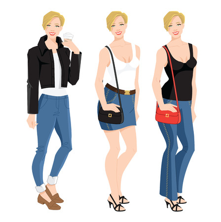 Vector illustration of woman character in different clothes isolated on white background. Illustration