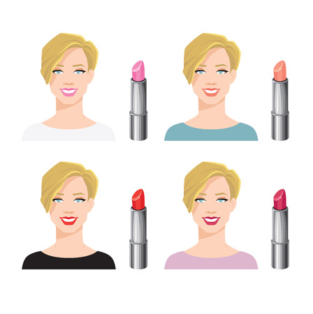 Vector illustration of various color lipsticks isolated on white background. Blondy girl face with short haircut