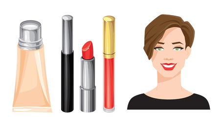 corrective: Vector illustration of young girl with brown hair. Set of cosmetics. Lipstick, mascara and foundation isolated on white.