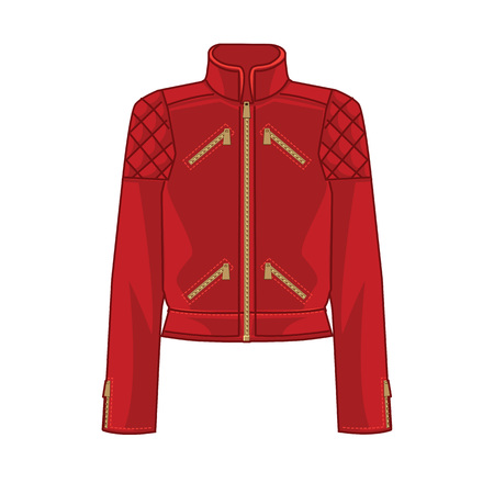 vector illustration of red bomber jacket on white background