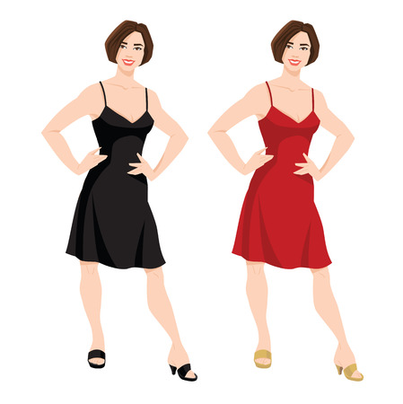 Vector illustration of young women with bob hairstyle in red and black dress Illustration