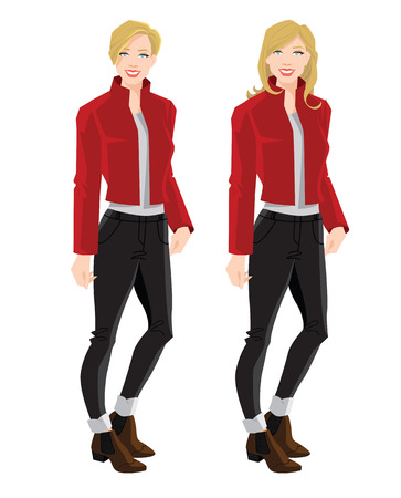 Vector illustration of blonde girls in bomber jacket, jeans and ankle boot with side elastic gussets