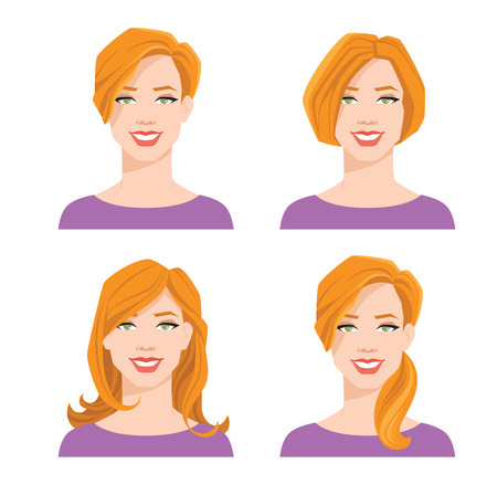 Vector illustration of young woman with face