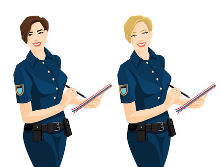policewoman: Vector illustration of brunette and blonde officer woman in formal clothes writing in document.