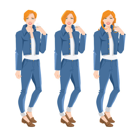 Young redhead woman with different hairstyle in blue jeans and jacket isolated on white background Illustration