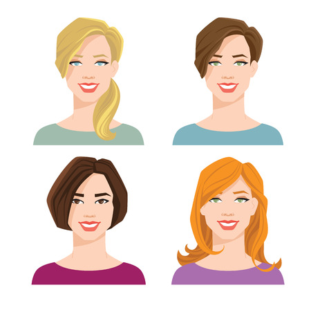 vector illustration of womans face with different hair style and color on white background