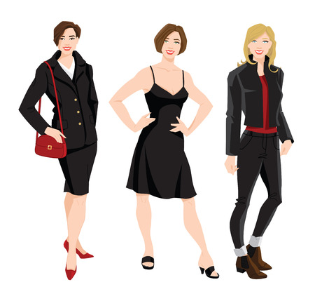 Vector illustration of woman in different clothes for office and everyday