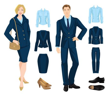 wearing: Vector illustration of corporate dress code. Office uniform. Clothes for business people. Secretary or professor in official blue formal suit. Pair of black formal shoes. Illustration