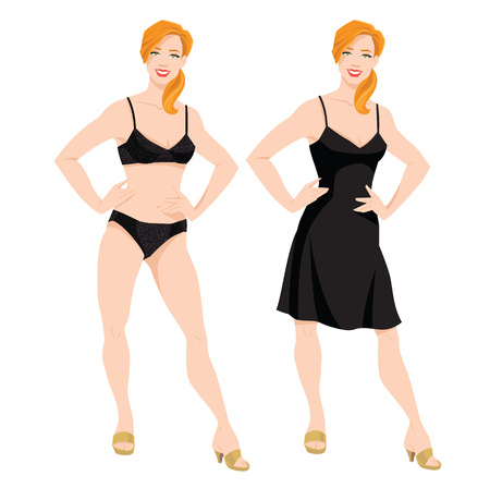 Vector illustration of redhead girls in lace underwear and dress on white background