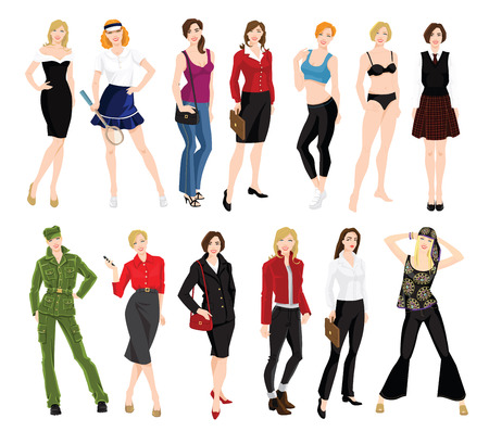 Vector illustration of woman in different clothes and pose isolated Illustration