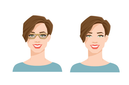 Vector illustration of young womans face on white background