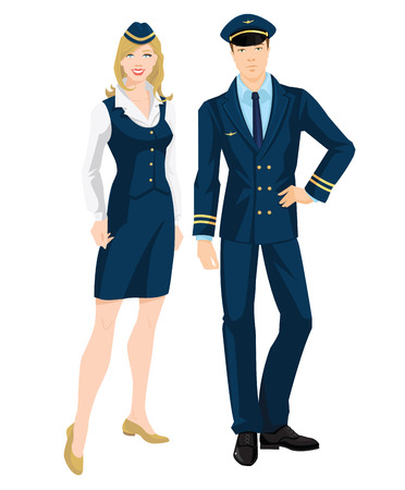 Vector illustration of pilot and stewardess in formal clothes on white background. Illustration