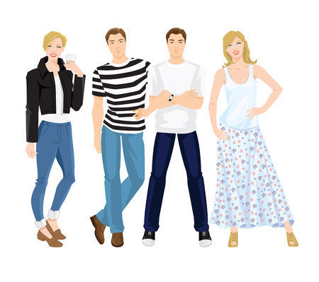 loafer: Vector illustration of people in different clothes and pose isolated on white background. Illustration