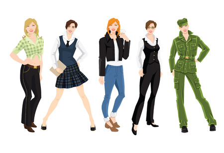 khaki: Vector illustration of woman in different clothes and pose isolated on white background.