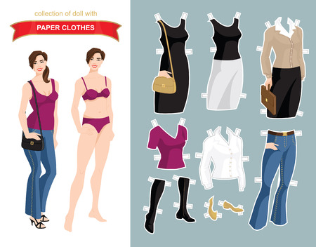 white coat: Paper doll with clothes for office and holiday. Body template. Illustration