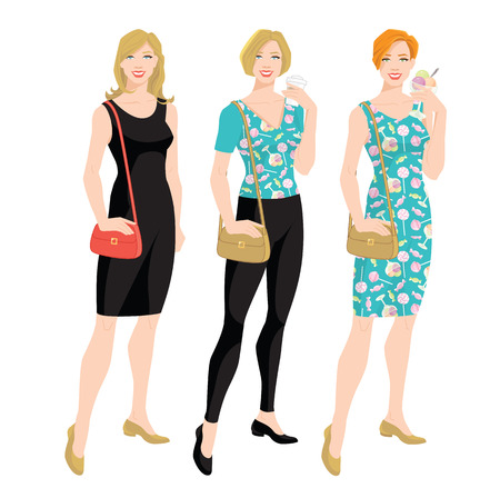 Vector illustration of Young women in different clothes. young woman holding ice cream in her hand. Illustration