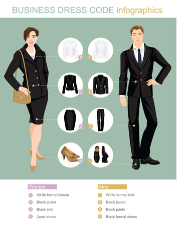 Illustration of people in formal clothes and shoes.