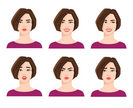 Collection of womans emotions. Vector illustration of variations of facial expression.