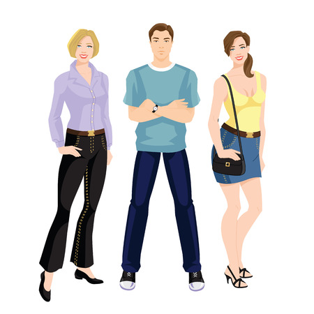 Vector illustration of young people in casual clothes.