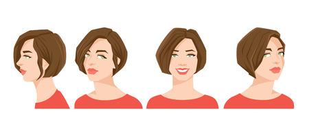 Vector la ilustración de la cara de la mujer hermosa en el fondo blanco, varias cabezas de las vueltas cara en frente y perfil.
