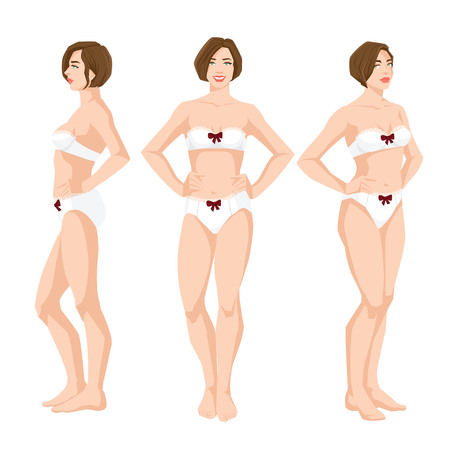 Vector illustration of beautiful woman in underwear on white background, Various turns woman's figure, Front view and side view.