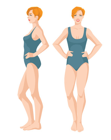 Vector illustration of a beautiful woman in swimsuit on white background, Various turns woman's figure, Front view and side view.