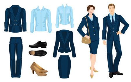 Vector illustration of corporate dress code. Office uniform. Clothes for business people. Secretary or professor in official blue formal suit. Pair of black formal shoes. Çizim