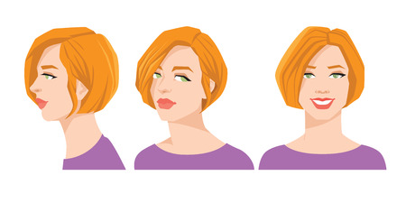 Vector illustration of beautiful womans face on white background. Various turns heads. Face in front and profile.