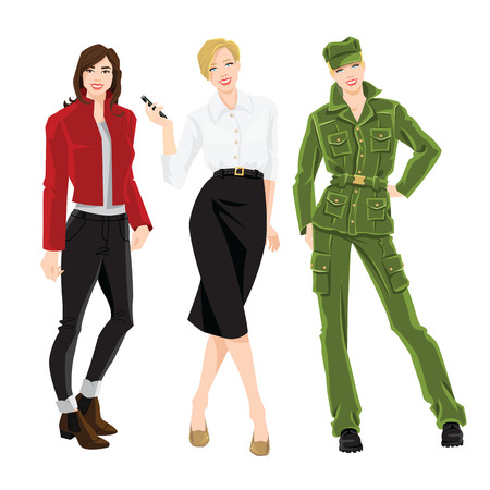 Vector illustration of women in different style of clothes isolated on white background Illustration