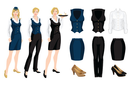 Vector illustration of corporate dress code. Formal suit and shoes isolated on white background. Young women in uniform.