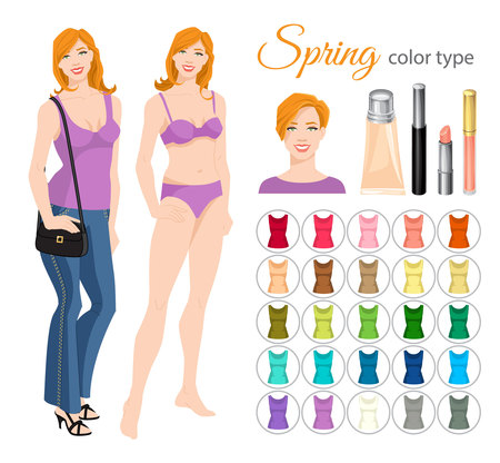 white coat: Vector illustration of seasonal color palette for spring type. Young woman in different clothes. Set of cosmetics on white background.