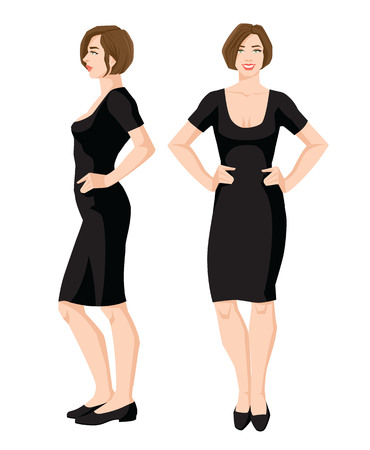 Vector illustration of a woman in black dress and shoes on a white background. Various turns womans figure. Front view and side view.