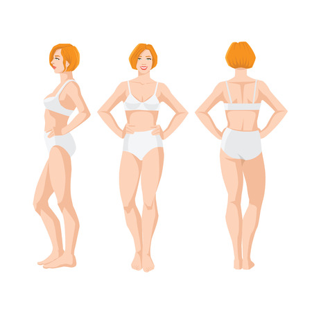 Vector illustration of beautiful woman in underwear on white background. Various turns woman's figure. Front view and side view.