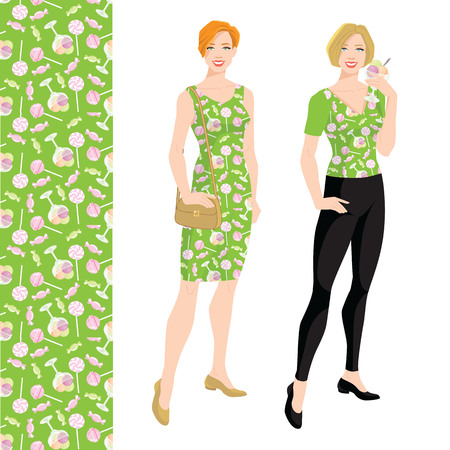 Young blonde woman with bob haircut holding ice cream in her hand. Vector illustration of pattern with deserts on green background. Illustration