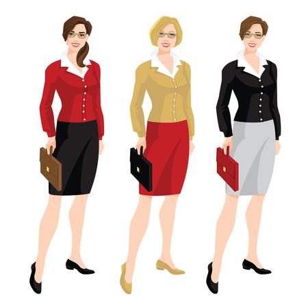 Illustration vectorielle du code vestimentaire de l'entreprise. Femmes d'affaires ou enseignant en cardigan, chemisier, jupe formelle noire et chaussures. Femmes dans des verres Banque d'images - 81192172