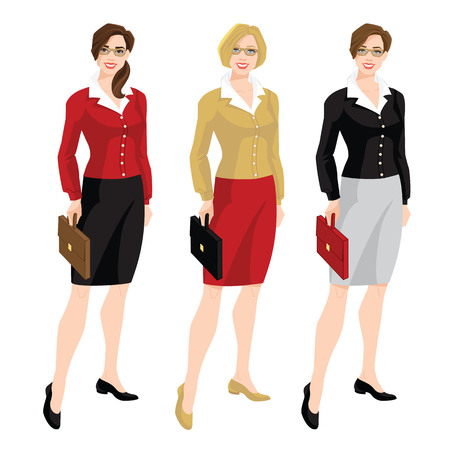 Vector illustration of corporate dress code. Business Women or teacher in cardigan, blouse, black formal skirt and shoes. Women in glasses