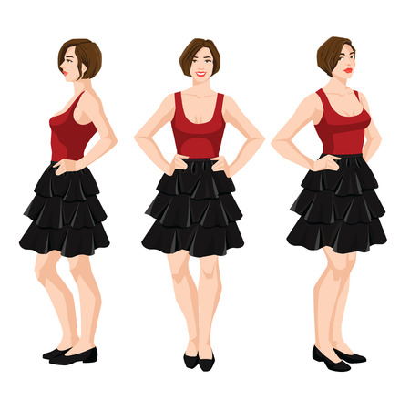 Vector illustration of a woman in black skirt, red top and shoes on a white heel with short sleeves on white background. Various turns womans figure. Front view and side view.