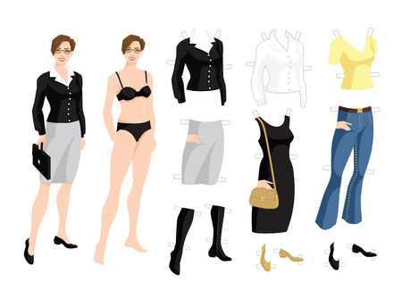 Paper doll with clothes for office and holiday. Body template. Vector illustration of brunette woman in formal clothes isolated on white background