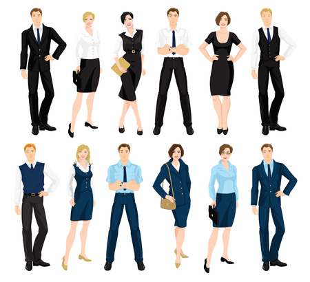 Vector illustration of corporate dress code. Man and woman in official blue and black suits isolated on white background. Formal wardrobe.