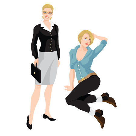 white coat: Vector illustrations of young girls in formal clothes and clothes for everyday. Blonde woman standing and sitting