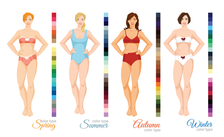 Vector illustration of seasonal color palette for spring, summer, winter and autumn type. Woman in different underwear and swimsuit