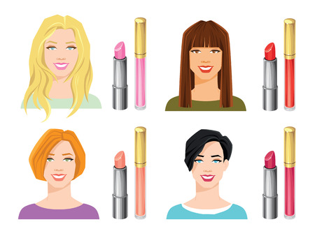 Vector illustration of various color lipsticks isolated on white background. Womens face with different hairstyle and hair color Illustration