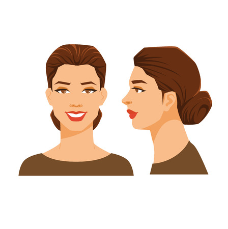 Vector illustration of woman's face on white background. Various turns heads. Face in side view and front view. Women with sheaf hairstyle Ilustração